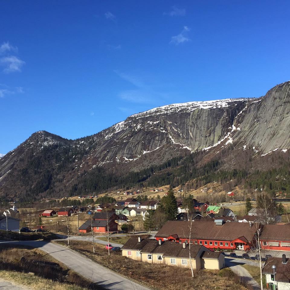 Utsikt frå Leite i Valle 20. april 2016. Foto: Britta Lise Homme