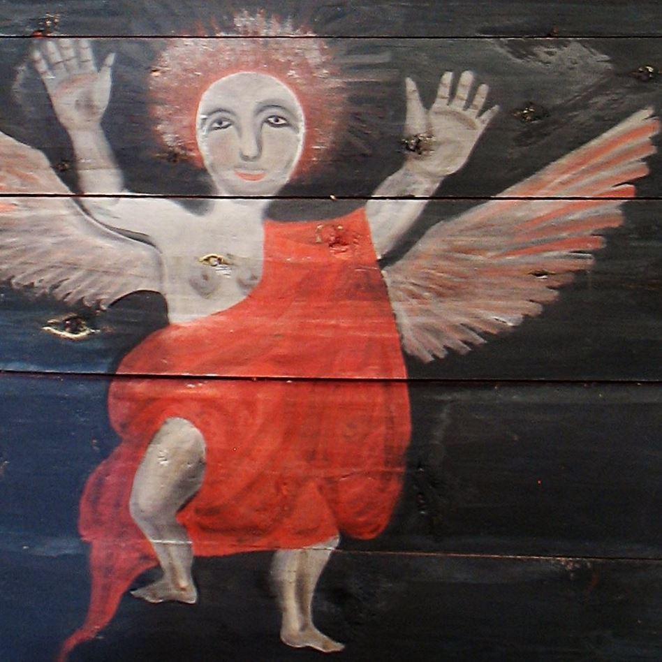 Frå rosemålinga i Bykle gamle kyrkje. Foto: Siri Johannessen